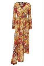 Topshop Boutique 6 2 S Silk Floral Asian Print Wrap Kimono Long Sleeve Dress NWT
