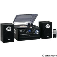 3 SPEED 33/45/78 RPM STEREO RECORD PLAYER CD CASSETTE PLAYER REMOTE CONTROL NEW