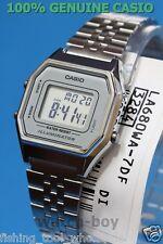 LA680WA-7D Silver White Casio Stainless Steel Watch Lady Stopwatch Alarm Digital