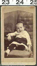 CDV OLD VINTAGE PHOTO OF YOUNG GIRL POSING IN ANTIQUE CHAIR (V-4)