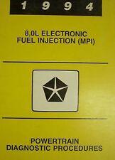 1994 Dodge Ram Truck V-10 V10 POWERTRAIN DIAGNOSTIC Service Shop Repair Manual