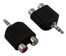 2 adaptateurs convertisseurs RCA femelle vers Jack 3.5mm stéréo audio phono en Y