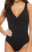 NWT Tommy Bahama Women's One-Piece Gathered Swimwear Solid Black Size 12