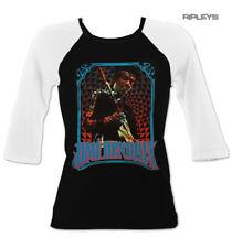 Official Ladies T Shirt JIMI HENDRIX Black Raglan Baseball 'Blue Logo' All Sizes