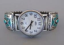 Zuni Navajo Native Sterling Silver Turquoise Watch Band Tips Signed Timex
