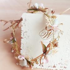 Bridal Wedding Crown Hair Band Champagne Silk Bow Knot Flower Pearl Headband