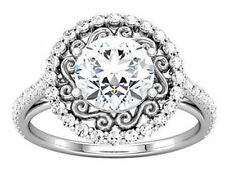 2 carat total Round DIAMOND Halo Engagement Solitaire 14K White Gold Ring, G-SI2