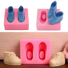 Baby Shoes Shaped Silicone Soap Mold Cake Decoration Fondant Cake 3D Mold Pink