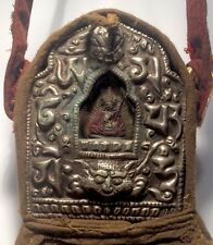 Tibetan PADMASAMBHAVA Deity Ghau Prayer Box Shrine w/ Cloth Case #11