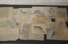 wp2 JAPANESE 24 PICTURES HAND PAINTING WOODBLOCK PRINTS  DRAFT FLOWER CARP GOD