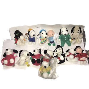 Rare Collection Of Vintage Peanuts & Snoopy Plush Toys X14 Singapore Airlines