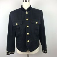 Liz Claiborne Vtg Petite Women's Button UP Black Gold Military Jacket Size 10