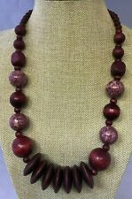 Red color wood bead necklace