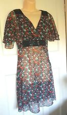 Red Herring Black Red Green Floral Sheer Long Tunic Top Embellished Size 10