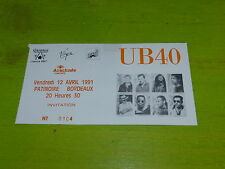 UB 40 - 1991 !!!!!!!!! !!!  RARE FRENCH TICKET STUB !!TICKET CONCERT!!!!!