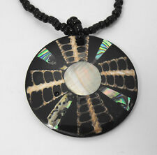"Abalone Shell & Mother of Pearl & Onyx Round Beaded Necklace 16.5"" Choker Style"