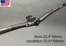 Carbon 3K MTB Road Bike Handlebar Riser Bar 25.4*700 Bicycle Short Stem 50mm ±7°