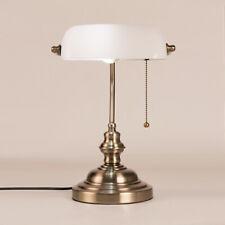 White Glass Shade Banker Desk Lamp Pull Chain Switch Table Light Satin Brass