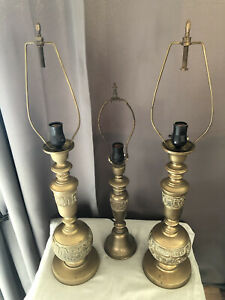 Marbro James Mont Style Mid-Century Japanese Brass Table Lamps
