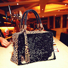 Women Black Leopard Handbag Bling Sequins Tote Purse PU Leather Evening Bag NEW