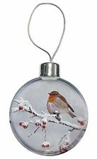 Robin on Snow Berries Branch Christmas Tree Bauble Decoration Gift, AB-R23CB