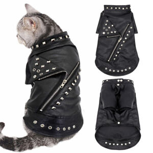 Fashion Leather Jacket Waterproof Small Dog Coats for Winter Pet Cat Clothes Pug