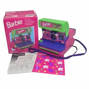 VTG 1999 BARBIE Polaroid 600 Instant Camera w/ Purple Strap~Stickers ~Box~Manual