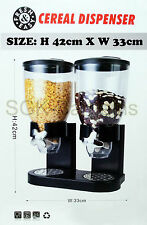 BLACK NEW DOUBLE SIZE DRY FOOD CEREAL DISPENSER KITCHEN STORAGE TWIN CONTAINER