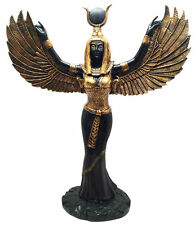 Egyptian Isis Open Wings Goddess of Magic Nature Figurine Statue Ebony Black
