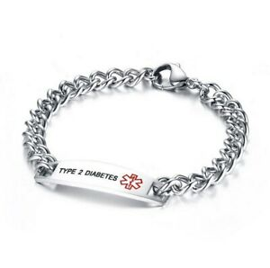 Medical Alert Bracelet DIABETIC, Epilepsy, PACEMAKER Stainless Steel Curb Chain