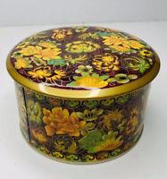 Vintage Daher England Long Island NY Floral Brown Gold Orange Green Round Tin