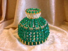 BEADED SHADE FOR WINDOW TABLE NIGHT LIGHT ELECTRIC CANDLE CHRISTMAS GREEN