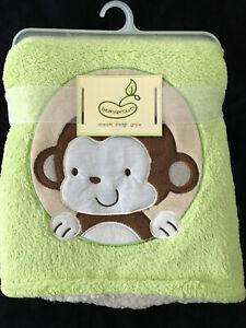 NWT BEANSPROUT plush green fleece & sherpa baby MONKEY blanket 30x36