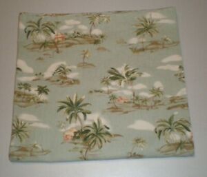 "Palms Trees Huts Sand Dunes Fabric Bath Stall Shower Curtain Cotton 70"" x 66""L"