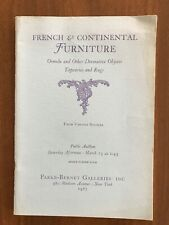 FRENCH & OTHER CONTINENTAL FURNITURE  March 25 1967 Parke Bernet Auction Catalog