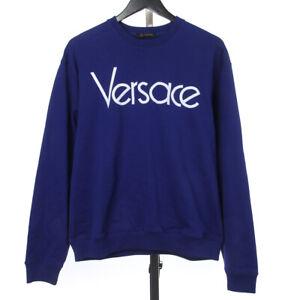 NWT $695 Versace Blue Sweatshirt w/ Embroidered Logo, XL