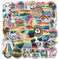 100Pcs INS Rainbow Skateboard Stickers bomb Vinyl Laptop Luggage Decals Pack Lot