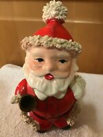 WOW! Vintage Dickson Santa Claus BOBBLE HEAD Planter Spaghetti TRIM Ringing Bell