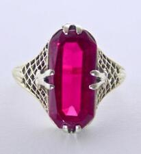 1920's VICTORIAN ANTIQUE 10K WHITE GOLD FILIGREE OCTAGON RUBY SOLITAIRE RING