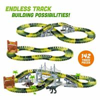 Dinosaur Dino World Childrens Flexible Race Car Track Construction Play-Set Toy