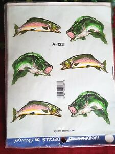Vintage 70's Handpainted Decorcal Fish Decals Fishing Fisherman Gift USA Made