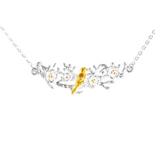 925 Sterling Silver Gold Bird on Flower Blossom Branch Curve Pendant Necklace