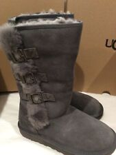 New in box UGG IKlea Charcoal Grey Suede SHEEPSKIN BOOTS, size 7 women's