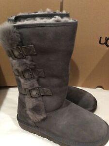 New in box UGG IKlea Charcoal Grey Suede SHEEPSKIN BOOTS, size 7 women's