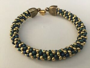 Teal  and Gold Seed Bead with Magnetic Closure Bracelet