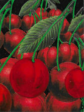 """ACEO Original """"Cherries"""" Collage & Painting, Hélène Howse"""