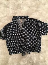 American Apparel Blue And White Polka Dot Pin Up Style Button Down Top Size L