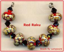 Red And Raku Lampwork Beads Handmde Glass Round Bead Set SRA W79
