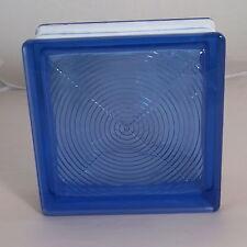 3 Stück Glasbausteine Glassteine Blau Kreis Muster 19x19x8cm 190x190x80mm