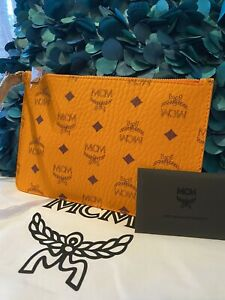 NWT MCM Orange Visetos Pouch Clutch Bag Wallet Wristlet Limited Edition Authenti
